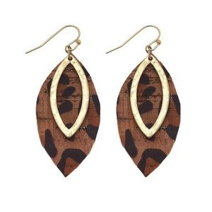 Leopard Print Gold Dangle Drop Cork Earrings